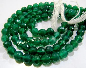 Exclusive Green Onyx Gemstone Beads , Faceted Ball Shape Natural Green Onyx Beads , Sold per Strand 10 inch long , 6mm Size Gemstone Beads