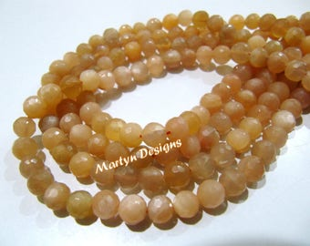 Genuine Peach Moonstone Faceted Round Beads , High Quality Ball Shape Peach Moonstone Beads , 6mm Size Gemstone Beads , Strand 13 inch long