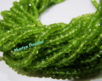 Top and Finest Quality Peridot Beads , 3-4mm Size Rondelle Faceted Peridot Beads , Strand 13 inch long , Natural Peridot Gemstone Beads