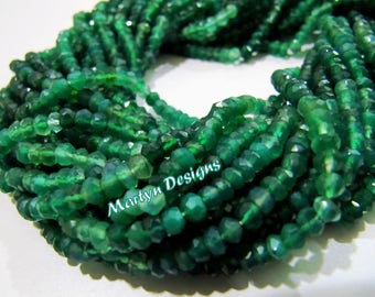 Natural Shaded Green Onyx Beads , AAA Quality Rondelle Faceted Green Onyx Beads , Strand 13 inch long , 3 to 4mm size Shaded color Beads