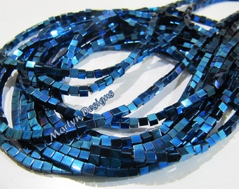 Beautiful Natural Royal Blue Hematite Box Beads, 2mm size Hematite Gemstone Beads , Length 15-16 inch Peacock Blue Color Hematite Beads