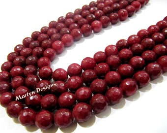 AAA Quality Ruby Jade Beads / Round faceted Beads Size 10mm/ Sold Per Strand of 15 Inches Long/ 39 Beads Approx Hole 1mm/ High Quality Beads