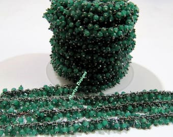 AAA Quality Emerald Beaded Chain Rondelle Faceted Corundum Beads 3mm Wire Wrapped Dangling Chain Black Plated Rosary Chain Sold per FOOT.