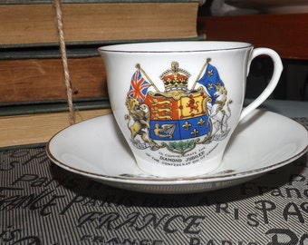 Quite vintage (c.1927) Aynsley tea set (cup w/matching saucer) commemorating Canada's Diamond Jubilee of Confederation July, 1927.