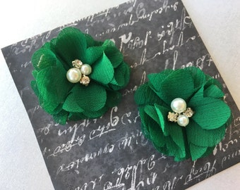 Green Baby girl Hair Clips, flower hair clips, baby hair clips, green, dark green, hair clips, flower, small flower hair clip