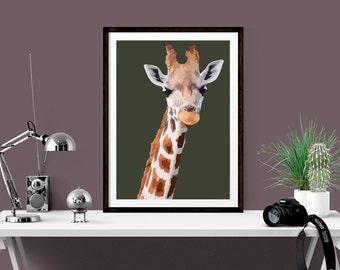 Giraffe Print, Giraffe Portrait, Wildlife Art Print, limited edition giclée print, Signed by artist, Earth tones giclee print, (80)