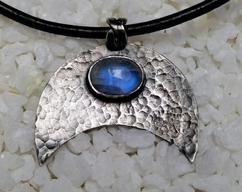 Dark Silver Viking Lunula pendant with Moonstone, hand made