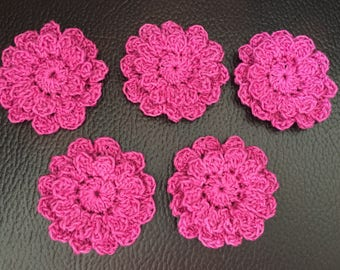 "5 Crochet applique flowers - 3"" flower - cotton/acrylic flower"