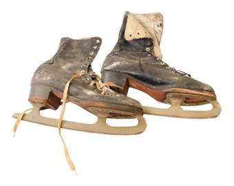 Vintage WEATHERED ICE SKATES leather pair distressed winter wall hanging art cabin decor pair old snow black rustic ccm canada