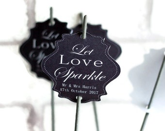 Let love sparkle tags, Wedding tags, wedding sparkler tags, tags for sparklers, celebration wedding labels, shaped wedding tags