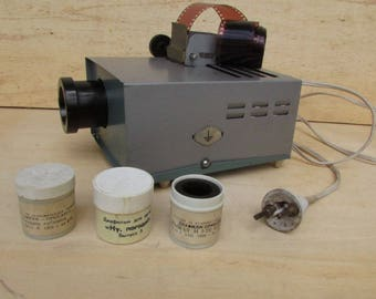 FOR SALE Vintage Soviet  projector + three children's films, Green Filmstrip Projector, Cartoon electronic toy, Retro projector