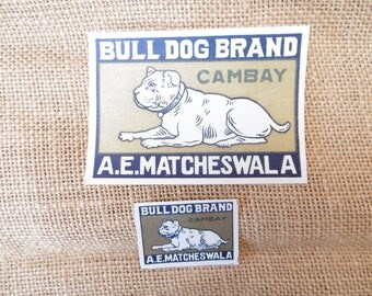 Pair of vintage matchbox labels depicting a bulldog