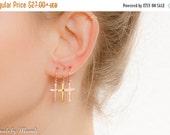 CHRISTMAS SALE - Cross Hoop Earrings - Gold Cross Hoop Earrings - Simple Hoop Earrings - Cross jewelry