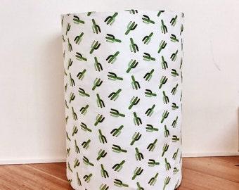 SALE - Large Cactus print fabric basket, laundry hamper, toy basket, fabric basket, storage basket, storage bin, nursery atoeage,