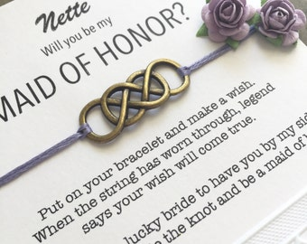 Be my maid of honor, Maid of honor wish bracelet, Asking gift,  Maid of honor proposal, Will you be my maid of honor, Asking bridesmaids, B1