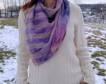 Watercolor/tie-dye scarf--lightweight square scarf made from a recycled sari from India