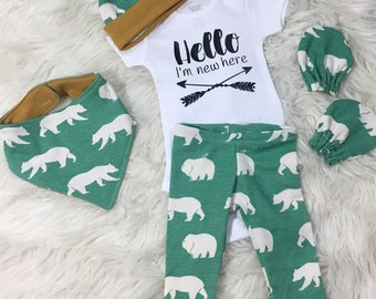 baby boy homecoming outfit, coming home outfit boy, hello I'm new here, newborn boy outfit set, baby boy shower gift, baby boy outfit