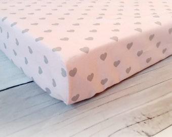 hearts crib sheets, fitted crib sheets, baby girl bedding, crib sheet, girl sheet, pink, mini crib sheets, baby shower gift, girl crib sheet