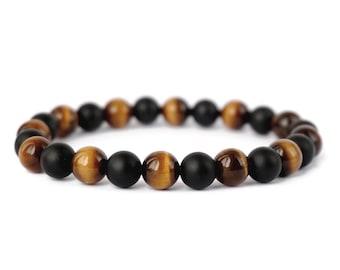 Tiger Eye, Onyx Stone, Mens Bracelet, Women's Bracelet, Beaded Bracelet, Gemstone Bracelet.