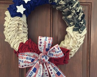 Red white blue Army wreath