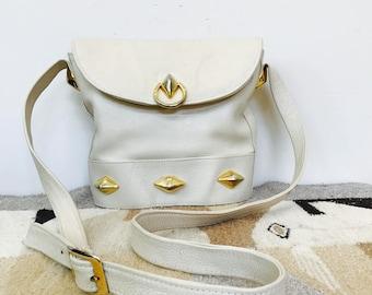 ivory leather studded crossbody purse - vintage bucket bag - white leather foldover purse - adjustable pebbled leather shoulder bag