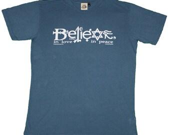 T137 - Believe in Love, in Peace hemp organic cotton blend  T-Shirt
