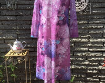 Vintage 1980's Purple Floral Shift Dress *  Size Medium