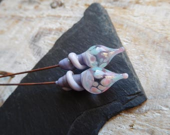 Lampwork headpins, Bohemian and enchanting, purple, ivory and blue style, craft creation.