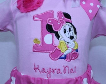 Baby Minnie first birthday outfit, Baby Minnie Mouse 1st birthday outfit,baby girl Minnie Mouse birthday,Pink baby girl first birthday set