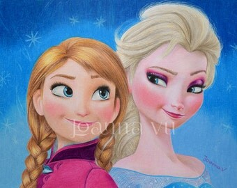 Elsa and Anna Original Fine Art Colored Pencil Drawing