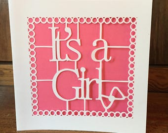 It's a girl papercut card