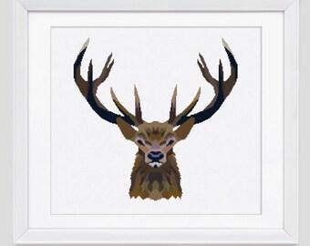 Buck cross stitch pattern, Buck counted cross stitch pattern, Buck modern cross stitch pattern, Buck cross stitch pdf pattern