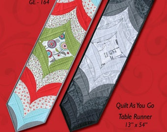 "GE Designs Curvacious Table Runner - Quilt As You Go Table Runner Finished Size 13"" x 54"""