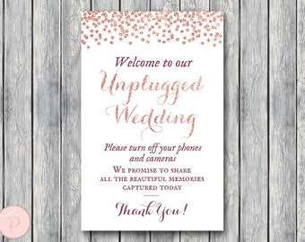Unplugged Wedding Sign, Unplugged Ceremony Sign, Printable Wedding Sign, Printable sign, Wedding decoration sign TH68