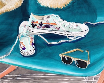 """SOUTHWESTERN CONVERSE and RAYBANS is a whimsical , colorful, acrylic painting 24""""x24"""" on gallery wrapped canvas."""