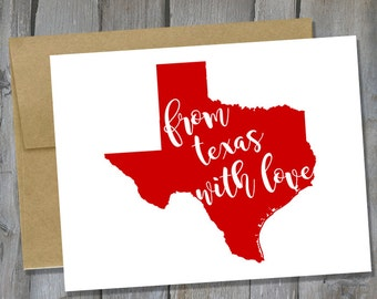 Customizable From Texas With Love Notecard Set of 12 - Texas Note Card Set - Stationary Set