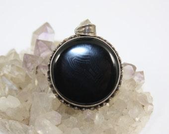 Black Onyx Necklace~Sterling Silver Oval Black Onyx Pendant Natural Black Onyx Sterling Silver Ornate Necklace Black Onyx Black Onyx