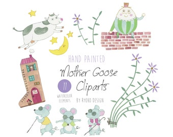 Mother goose clip art, nursery rhyme, nursery art, Watercolor,Humpty dumpty on a wall, cow jumping over the moon, craft, Scrapbooking