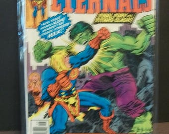 1977 The Eternals  (2nd Series) #15 Ikaris Vs The Cosmic Powered Hulk  Good Condition Vintage Marvel Comic Book Does Not Lay Flat Jack Kirby