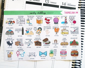 August Wacky Holidays Planner Stickers