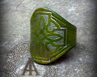 Green Leather Celtic Ring