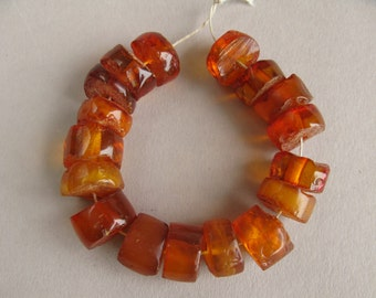 Antique amber beads, Natural amber, Cognac Amber, Honey Color, 17 beads