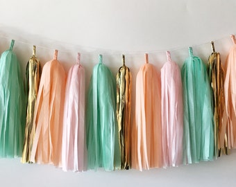 Peach, Blush, Mint and Gold Tassel Garland