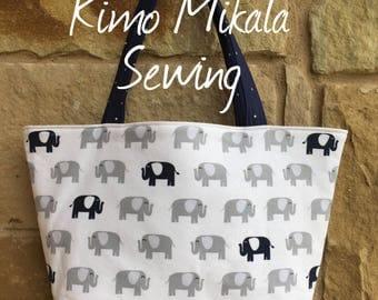 Blue and Gray Elephants Handbag