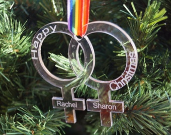 Pride, Love is Love,  personalised Christmas decoration, same sex couple, wedding decorations, mrs and mrs, personalised same sex couple