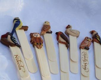 Personalised bookmark, child's bookmark, wooden bookmark, animal bookmark, personalised bookmark, book lovers gift, bookmark ,bird bookmark
