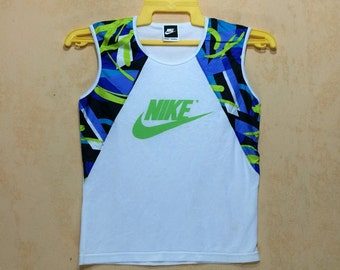 90s Vintage Lot Of Two NIKE Running Tanks Ladies Medium / Polyeter Nylon Material