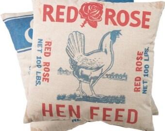 Red Rose Hen Feed Chicken Grain Sack Cotton Farmhouse Farm Throw Pillow