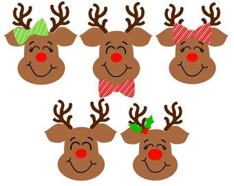 Set of 5 Cute Reindeer; SVG, DXF, PS, Ai and Pdf Digital Files for Electronic Cutting Machines