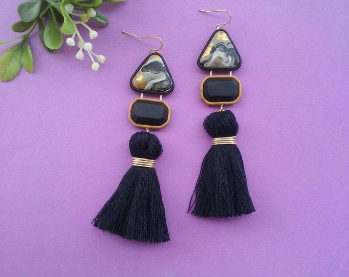 BETTA DROP EARRINGS// Taupe marble polymer clay jewel dangle earrings with blackl tassels// Little Tusk tassel statement drops // #DE2034C